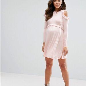 ASOS Maternity Cold Shoulder Pale pink dress NWOT